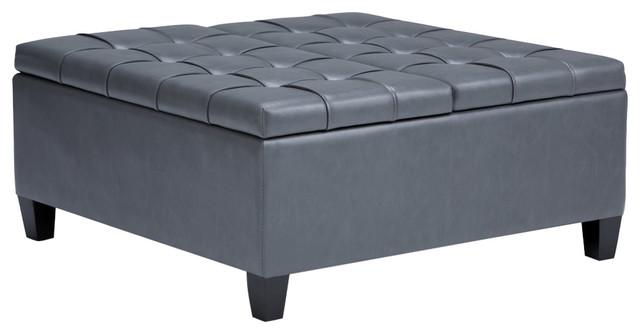 "Harrison 36"" Traditional Square Storage Ottoman, Stone Gray"