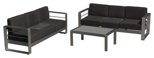 GDF Studio 3-Piece Coral Bay Outdoor Aluminum Sofa Set With Dark Gray Cushions