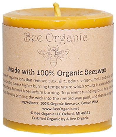 Bee Organic 100% Organic Beeswax Round Pillar Candle, Small
