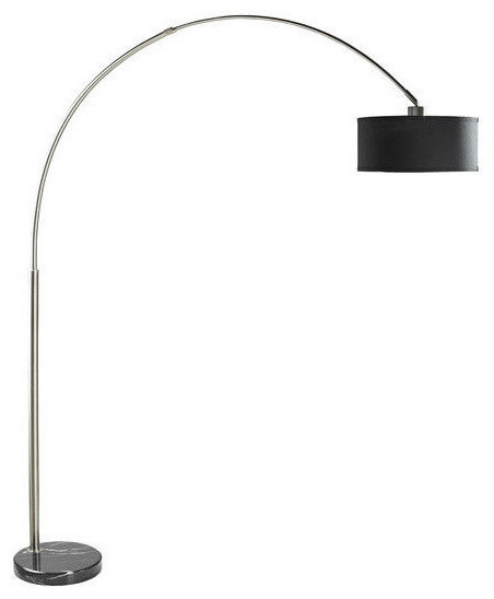 Modern 81 Tall Arch Floor Lamp With Black Drum Shade And Marble Base.