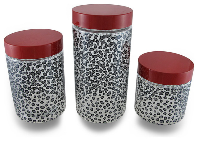 Set of 3 black and gray cheetah print clear glass storage jars w red lids traditional for Clear bathroom containers