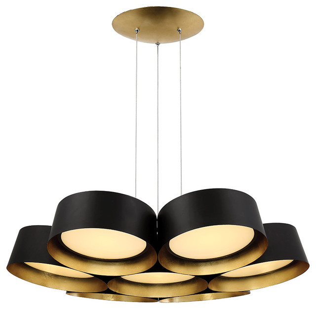 "Marimba 34"" Led Chandelier In Gold Leaf."
