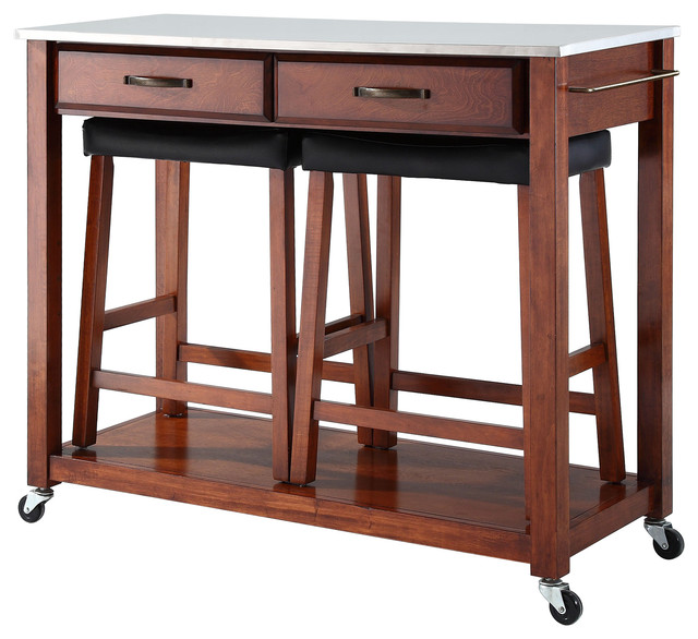 "Stainless Steel Top Kitchen Cart, Classic Cherry, 24"" Upholstered Saddle Stools."