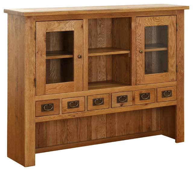 -Oak Vancouver Six-Drawer Two-Door Solid Oak Hutch - China Cabinets ...