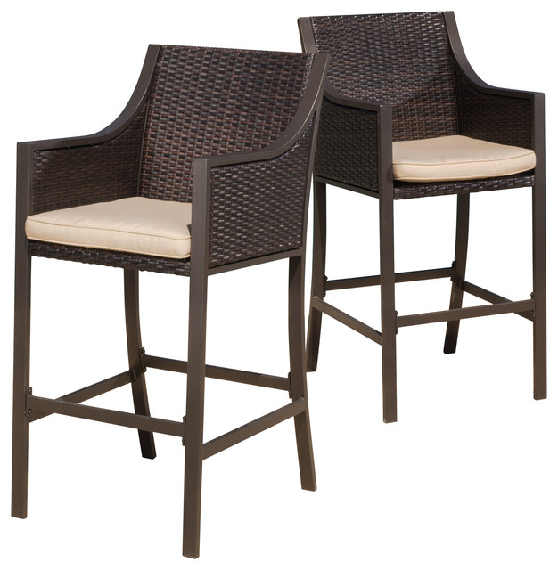 Rani Outdoor Bar Stools Set Of 2 Brown Contemporary