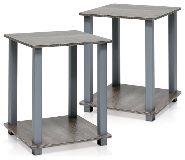 Furinno Simplistic End Table, Set Of 2, French Oak Gray/gray.