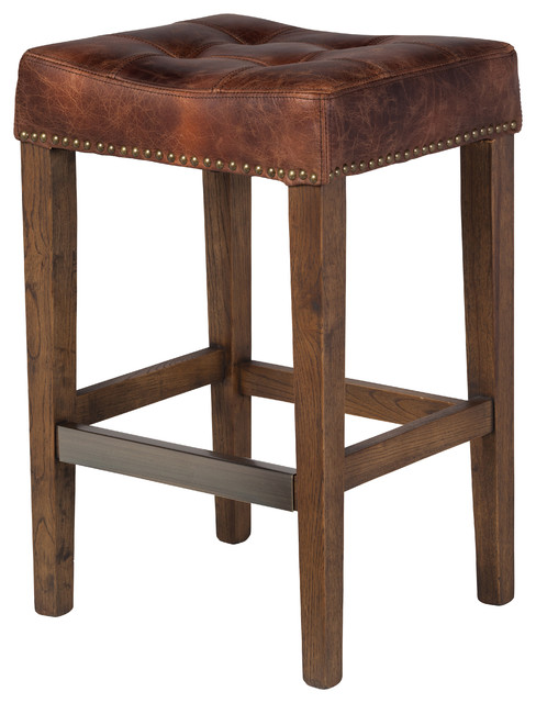 Ash Counter Stool, Vintage Brown Leather