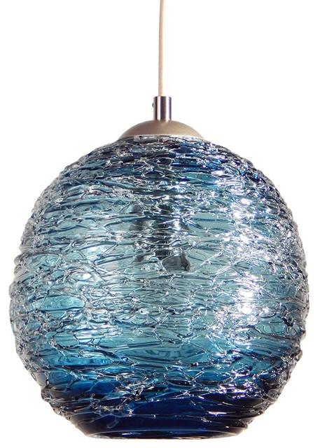 "Spun Glass Globe Pendant Light, Steel Blue, 6"" Round."