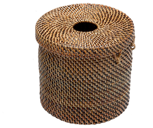 Rattan Toilet Paper Cover and Tissue Dispenser Tropical Toilet