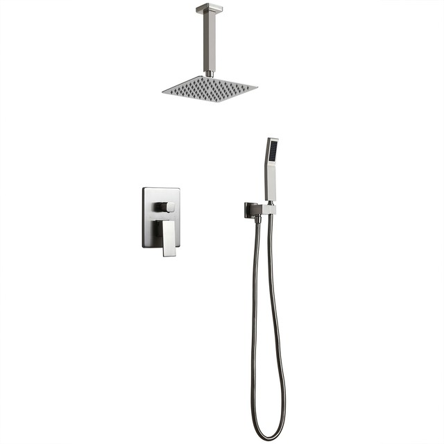 """Commercial Square Rain Showerhead Ceiling Mount Shower Set, Brushed Nickel, 12"""""""
