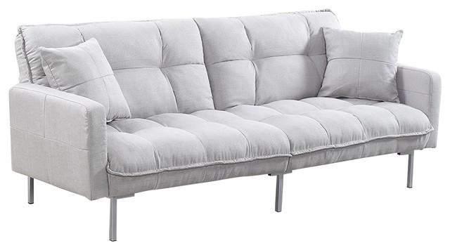 Modern Plush Tufted Linen Sleeper Futon, Light Gray.
