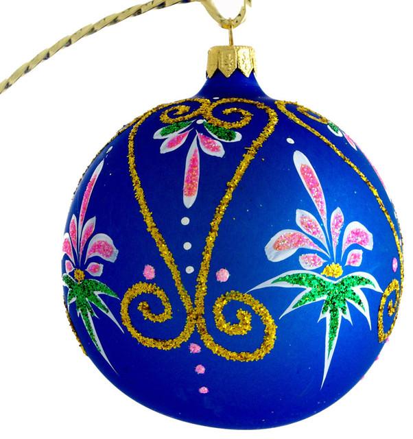 Aurora Hand Blown Glass Christmas Ball Ornament