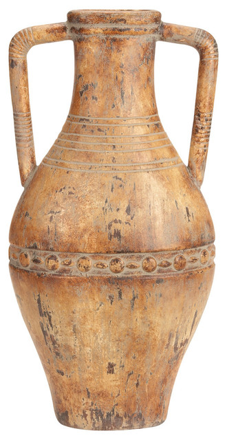 Tuscan Rounded Ceramic Vase Earthen Hues Ancient World Look Decor