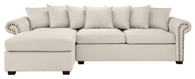 Modern Linen Fabric Scroll Arm L Shape Sectional Sofa, Beige