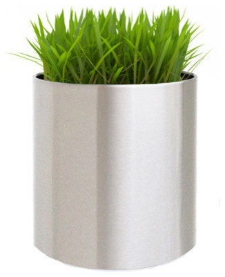 Knox Brushed Stainless Steel Planter Contemporary Outdoor Pots