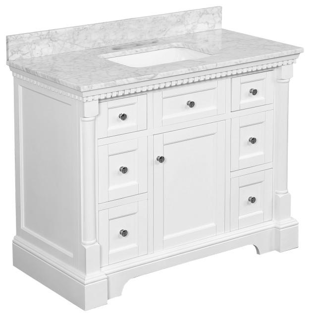 "Sydney Bath Vanity, White, 42"", Carrara Marble, Single Sink"