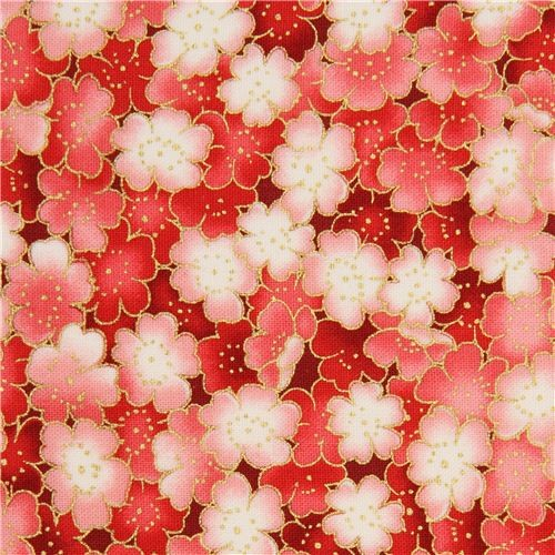 white-pink cherry blossom fabric by Timeless Treasures gold