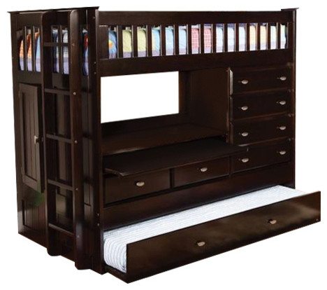 twin loft bed with storage desk dresser trundle in 1 transitional loft beds by custom. Black Bedroom Furniture Sets. Home Design Ideas