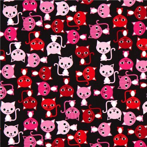 Black Fabric With Colourful Cats Robert Kaufman Kawaii