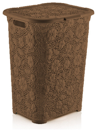 Brand Lace Laundry Hamper Color, Brown.