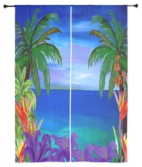 Palm Tree Tropical Sheer Curtains, Purple Lily Tropical Beach Tropical  Curtains
