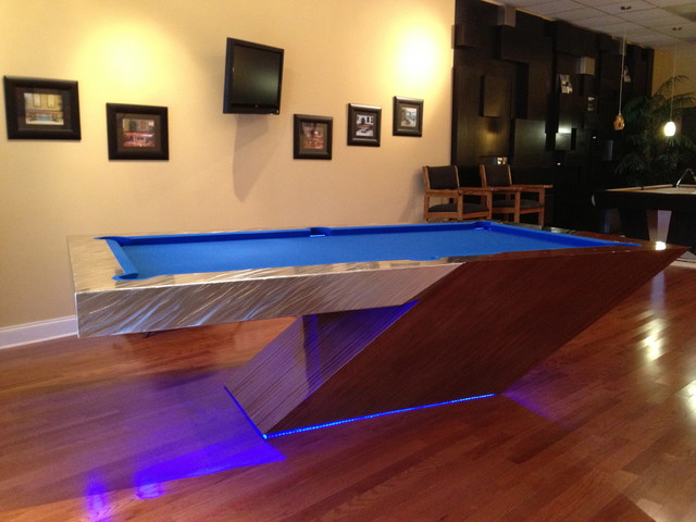 Cantilever pool table eclectic family room tampa for Pool design tampa