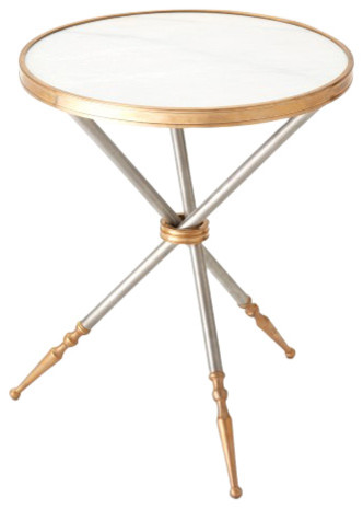 Silver Gold Tripod Round Accent Table White Marble Military Travel - White marble and metal round accent table