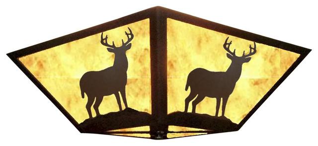 Rustic Square Ceiling Light Wrinkle Black White Mica Deer Flush