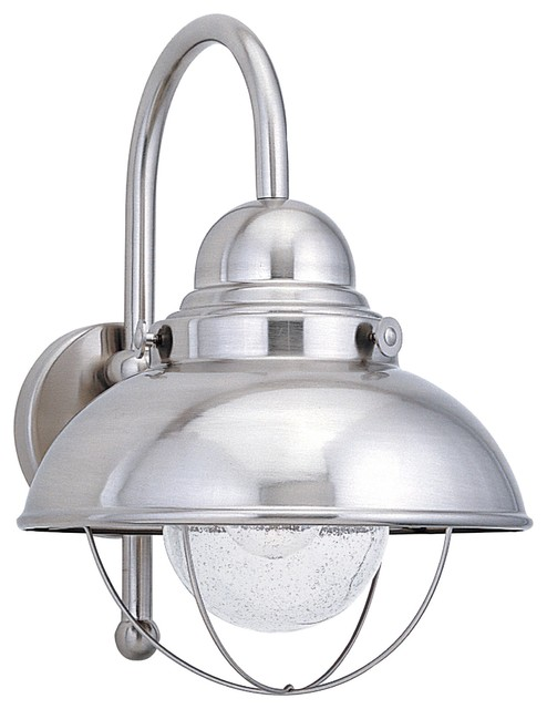 Sea Gull Sebring One Light Outdoor Wall Lantern, Brushed Stainless.