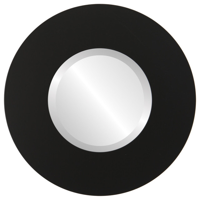 "Tribeca Framed Round Mirror In Matte Black, 21""x21""."