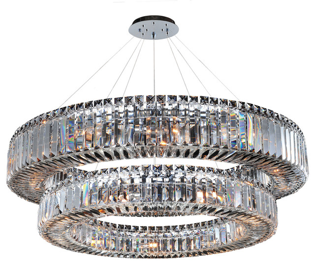 Rondelle 36 Round Pendant 2 Tier Firenze Clear