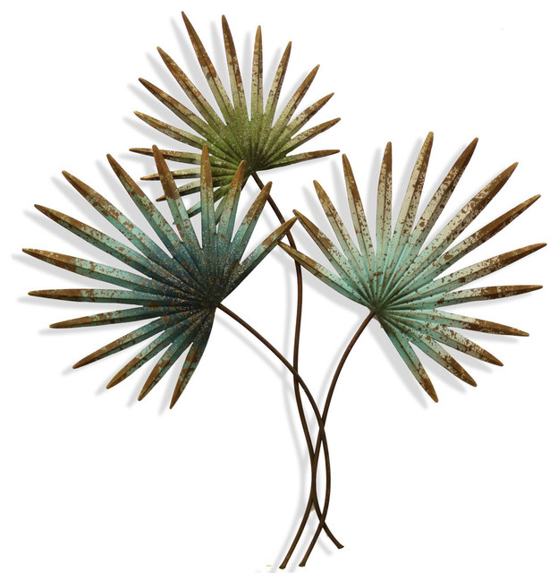 Palm Leaves Metal Wall Art Rusty Ornament Sculpture Hanging PAIR 93cm