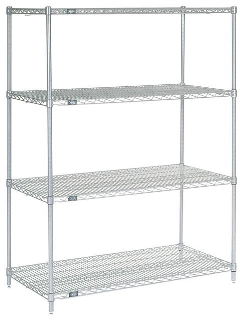 "Chrome Finish Nexel 4-Shelf  Wire Shelving Unit 18/""W x 48/""L x 86/""H"