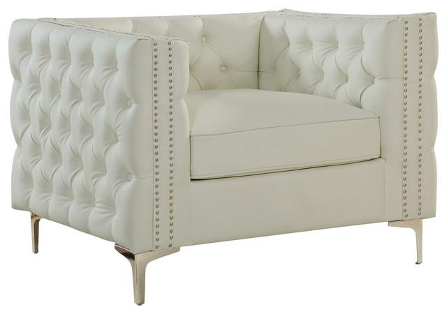 Da Vinci Leather Club Chair, Cream by Chic Home