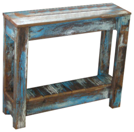Doug And Cristy Designs   Breck Distressed Side Table, Blue   Side Tables  And End