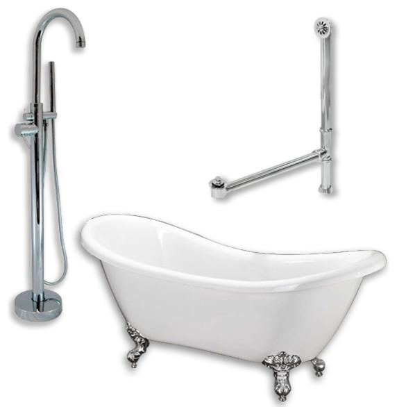 68 Double Slipper Clawfoot Tub, Freestanding Modern Gooseneck Plumbing.