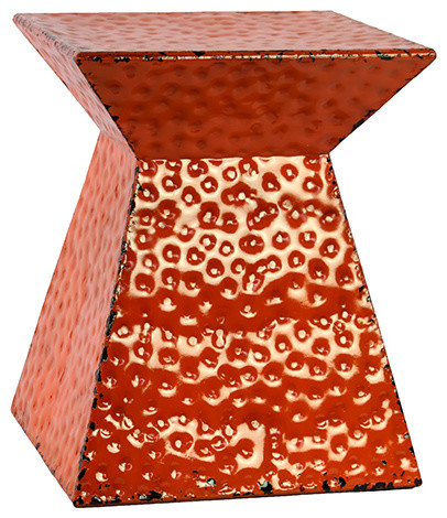 Stylish Sleek Contemporary Hammered Metal Stool Orange Home Decor traditional-accent-and-garden  sc 1 st  Houzz & Geometric Stool Aged Metallic Finish Indoor Outdoor Decor ... islam-shia.org