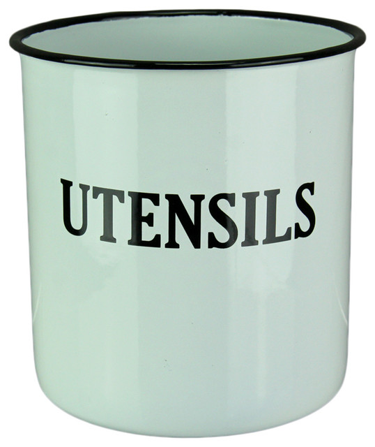 Black And White Enamel Retro Metal Kitchen Utensils Holder.