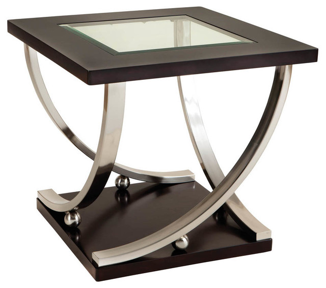 Standard Furniture Melrose Square Glass Top End Table In Rich Dark Merlot  Side Tables