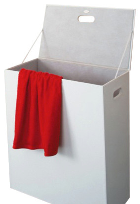 Rectangle White Faux Leather Laundry Basket.