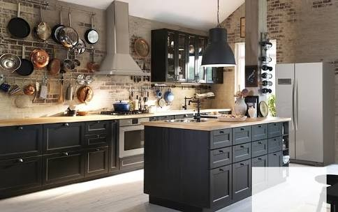 Black kitchen cabinets for Kitchen colors with white cabinets with rouleaux papier peint