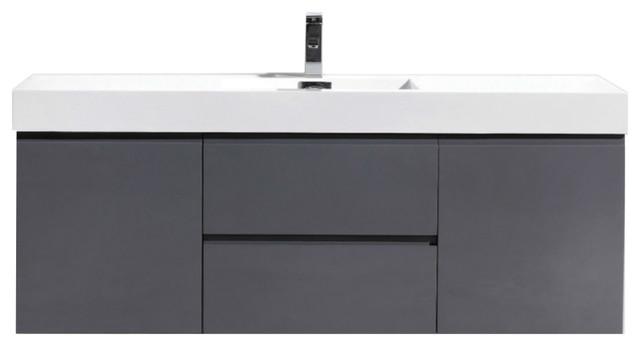 "MOF 60"" Single Sink Wall Mounted Bathroom Vanity, High Gloss Gray"