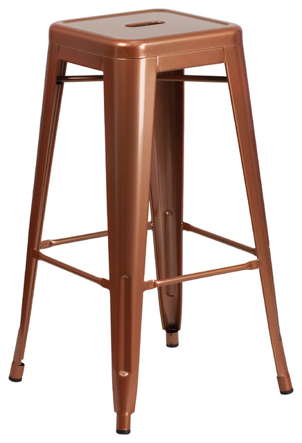 Portage Metal Indoor/outdoor Bar Stool, Copper.