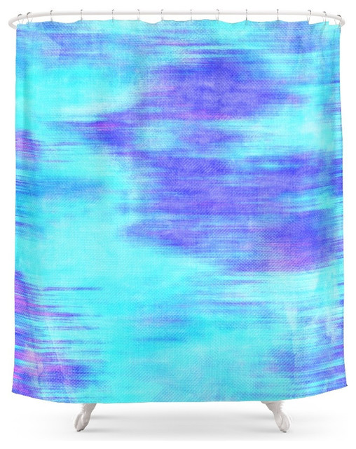 Society6 Ocean Blur Abstract In Mint Purple And Royal Blue Shower Curtain Contemporary