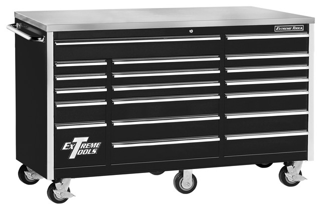 "Extreme Tools - Extreme Tools 72"" 18-Drawer Standard Triple Bank Roller Cabinet, Black & Reviews ..."
