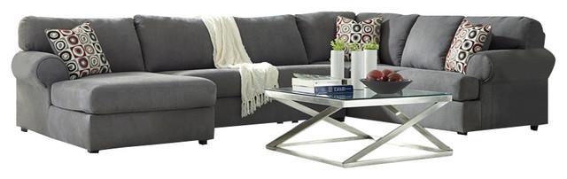 Signature Design By Ashley Jayceon 3 Piece Raf Sofa Sectional Steel Fabric
