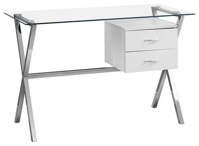 """48"""" Computer Desk With Tempered Glass, Glossy White."""