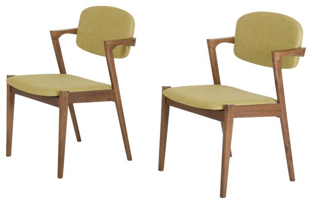 Modrest Skylar Modern Green Tea Fabric Dining Chairs, Set Of 2.