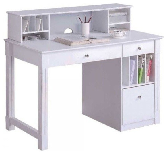 Deluxe White Wood Computer Desk, With Hutch