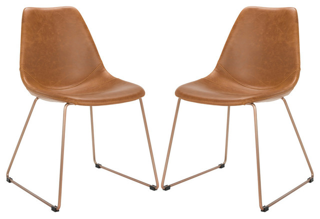 Safavieh Dorian Leather Dining Chair, Set Of 2, Light Brown/copper.